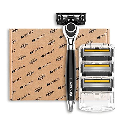 Shave It Grand, 6-Klingen-Rasierer mit Griff und 4 Klingenköpfen  (Amazon Eigenmarke)