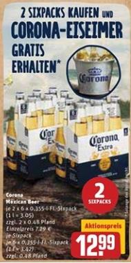 [ Rewe bundesweit ] 2 Sixpacks Corona + Eis-Eimer für 12,99€