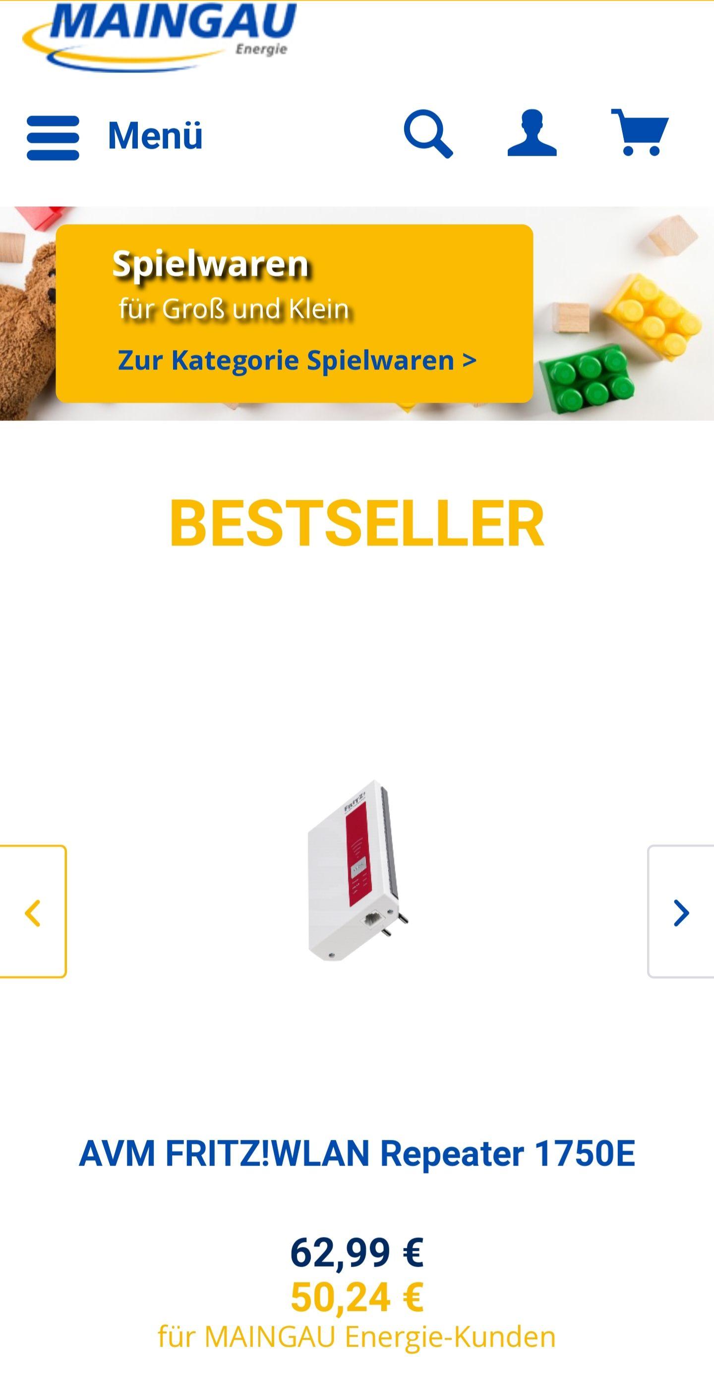 Maingau-Energieshop [Nur für Maingaukunden] z.B. Fritz1750e für 50 eur