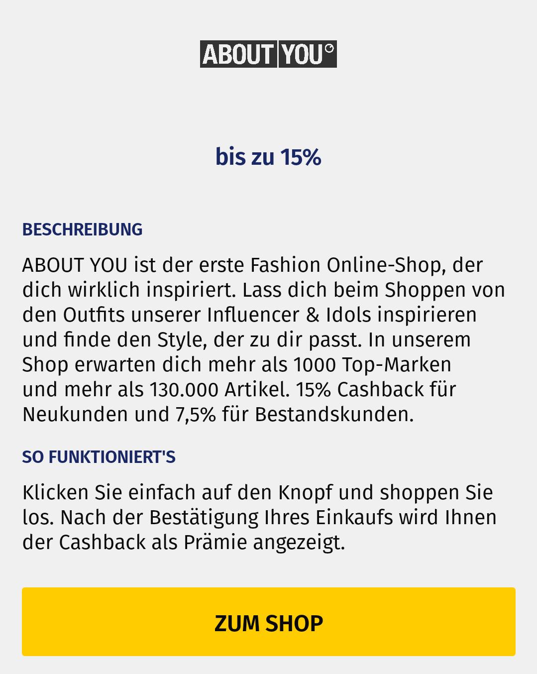 [About You/Geldspeicher] 15% Cashback für Neu- und 7,5% für Bestandskunden