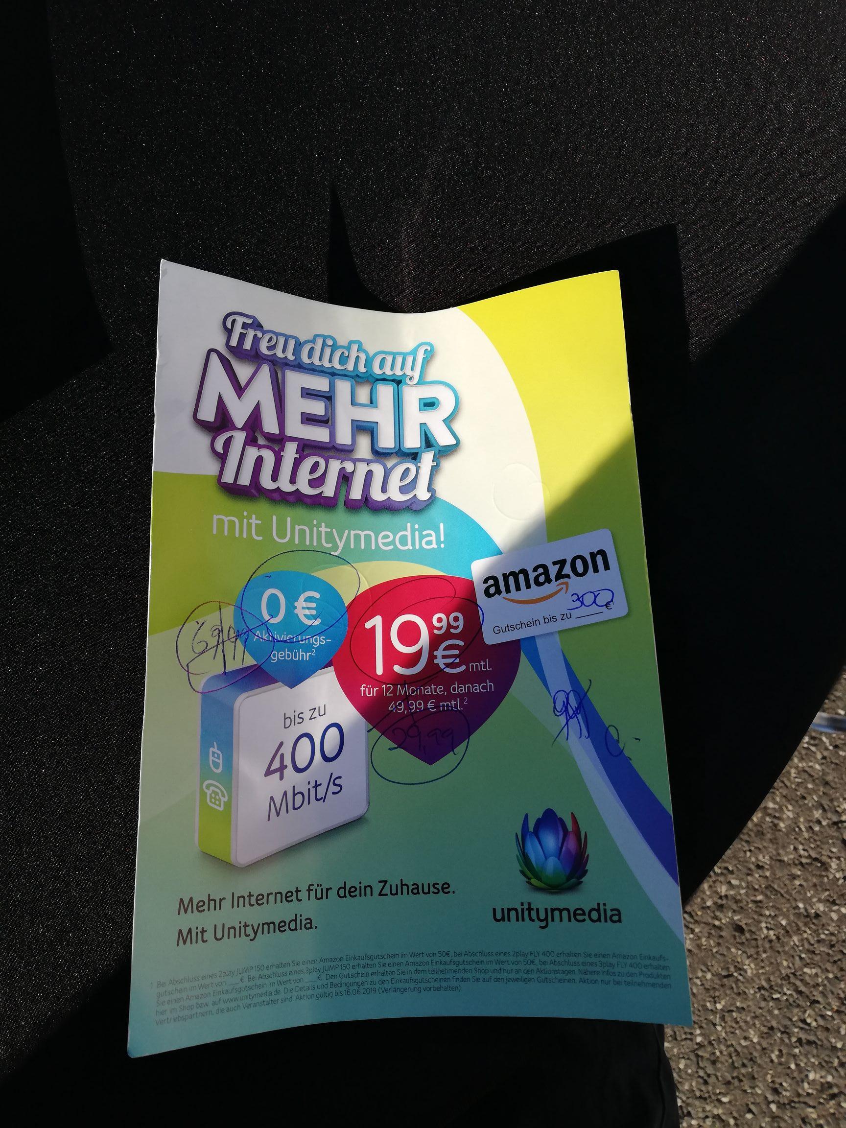 [lokal] Hessentag Bad Hersfeld Unitymedia Internet 400/30 mbit *Neukunden* 300€ amazon gutschein
