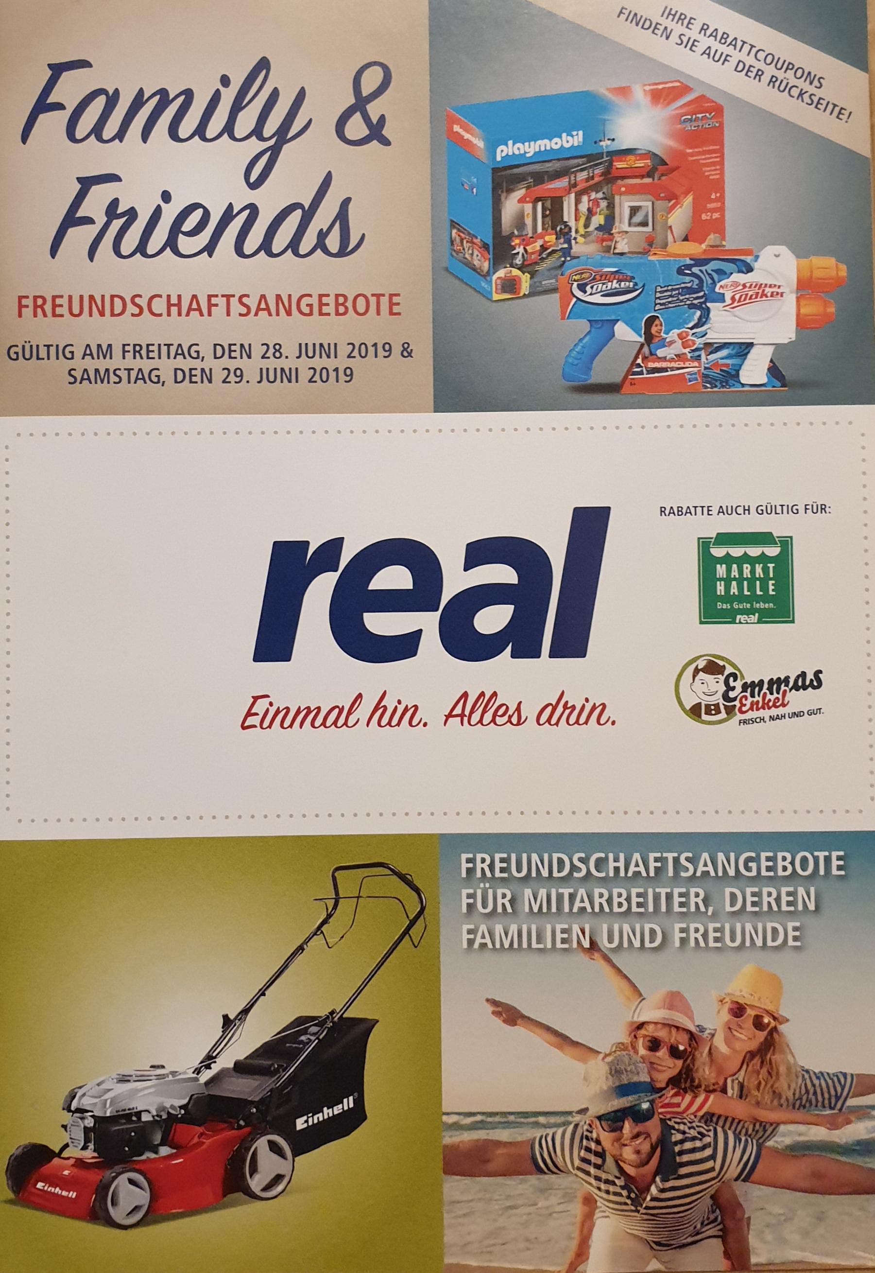 [REAL] Family & Friends Rabatt-Aktionstage am 28. und 29. Juni 2019 (19% auf TV,Smartphones,Spielekonsolen + 25% auf Lego,Playmobil uvm.)