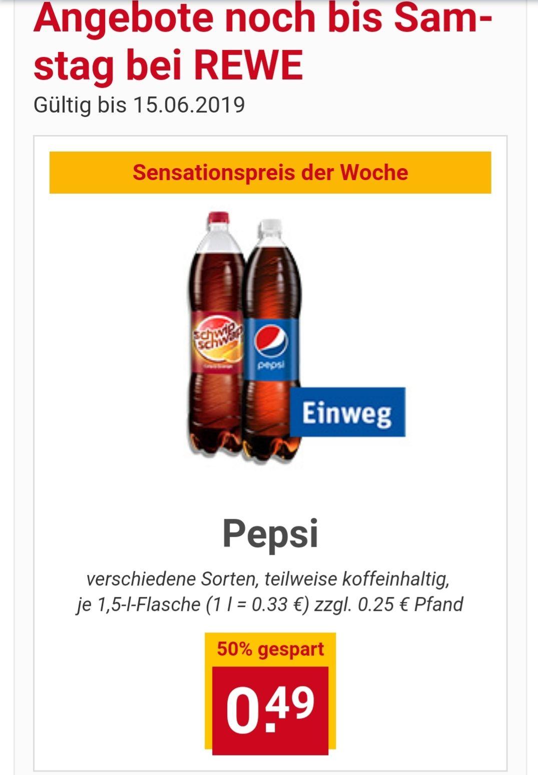 Rewe: Pepsi und SchwipSchwap 1,5 Liter bis 15.6. für €0,49