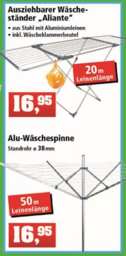 ALU-Wäschespinne und Wäsche ständer Aliante für jeweils 16,95 Euro [Thomas Philipps]
