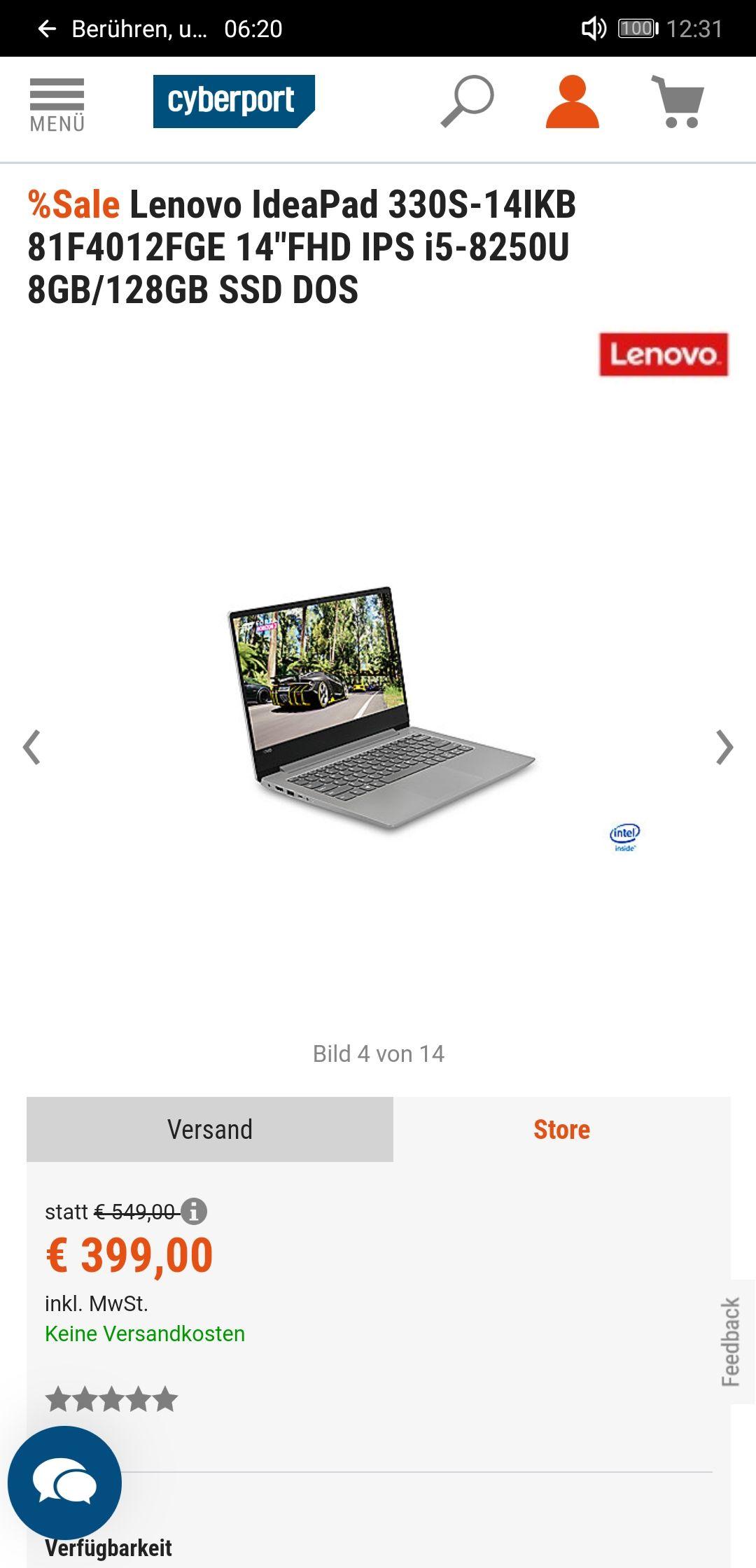 Lenovo Ideapad 330s - i5 8250u, 8GB RAM, 128GB SSD, 14 Zoll