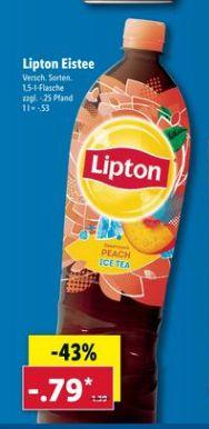 [LIDL ab 27.06] Lipton Eistee in verschiedenen Sorten für 0,79€ je 1,5 Liter Flasche zzgl. Pfand