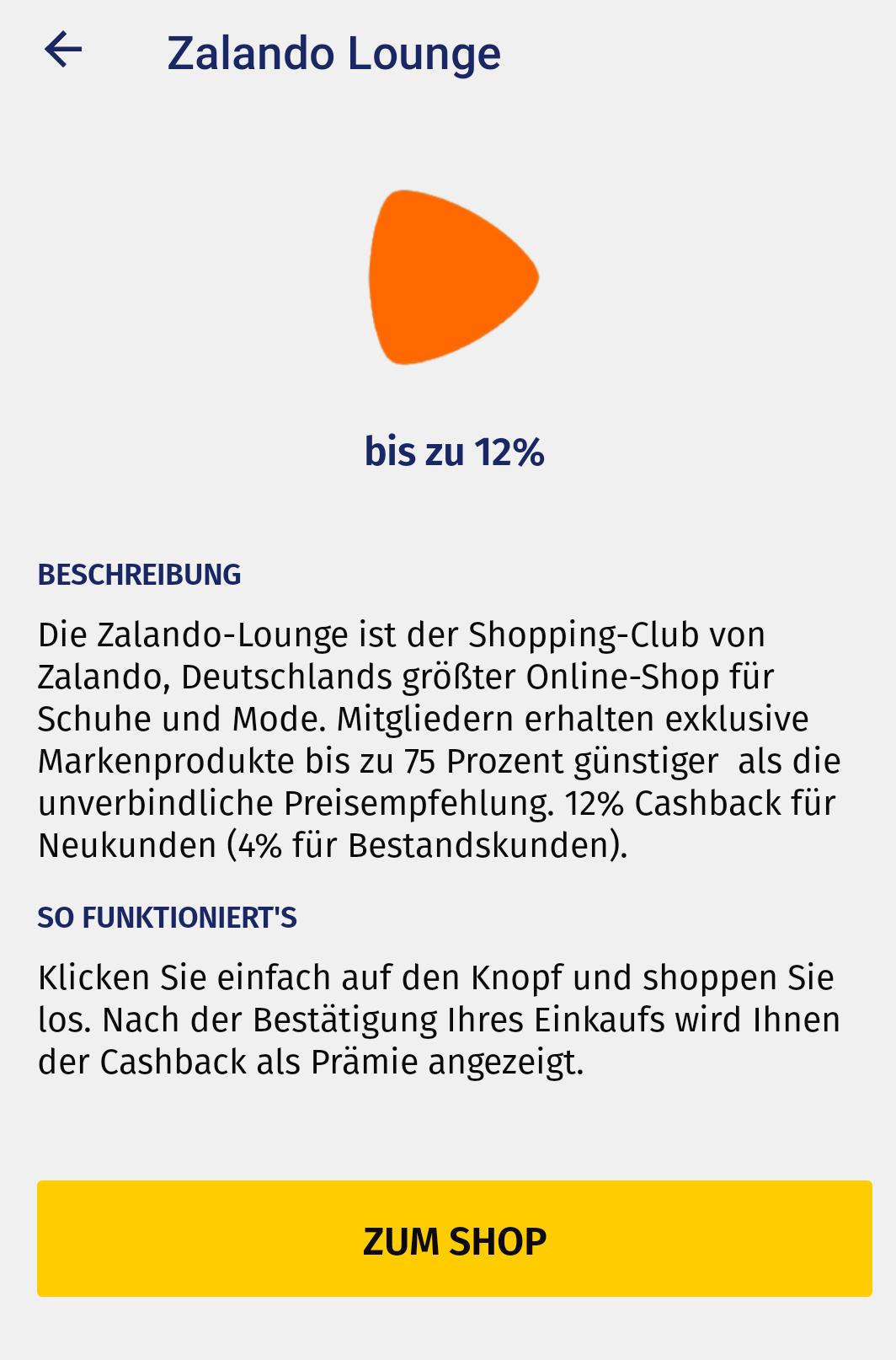 [Zalando Lounge/Geldspeicher] 12% Cashback für Neu- und 4% für Bestandskunden