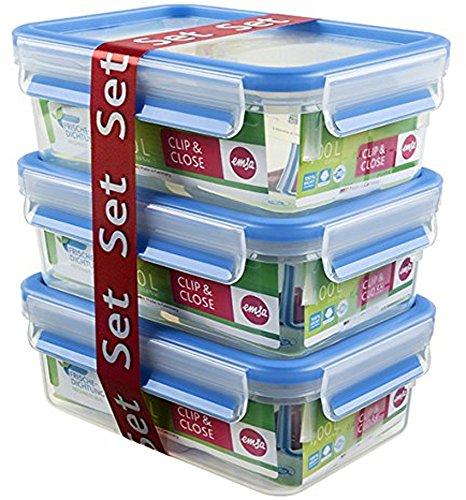 Emsa Food Clip & Close,Plastik, Blau 1 Liter, Set mit 3 Boxen [Amazon prime]