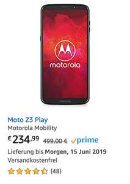 Moto Z3 Play als Angebot + kostenloses Mod