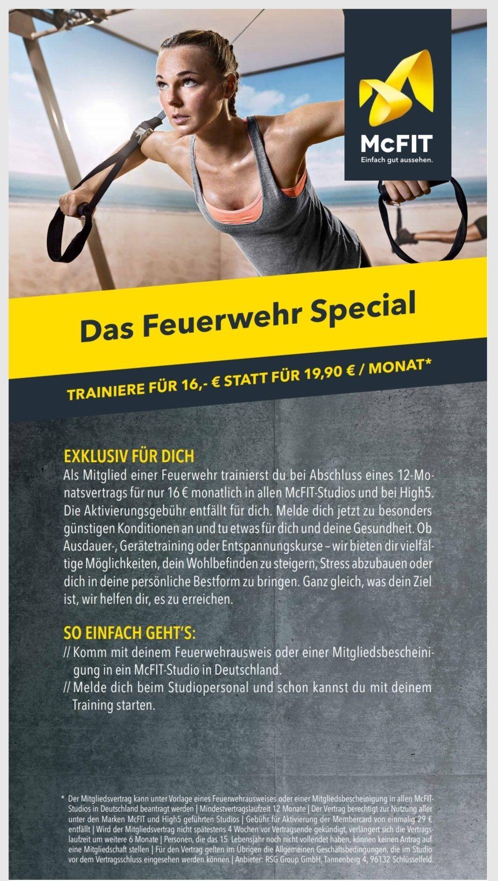 [FEUERWEHR]*deutschlandweit* McFit 16€ monatlich als Feuerwehrler