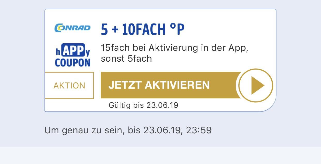 15-Fach Payback-Punkte bei Conrad.de (bis 23.6)