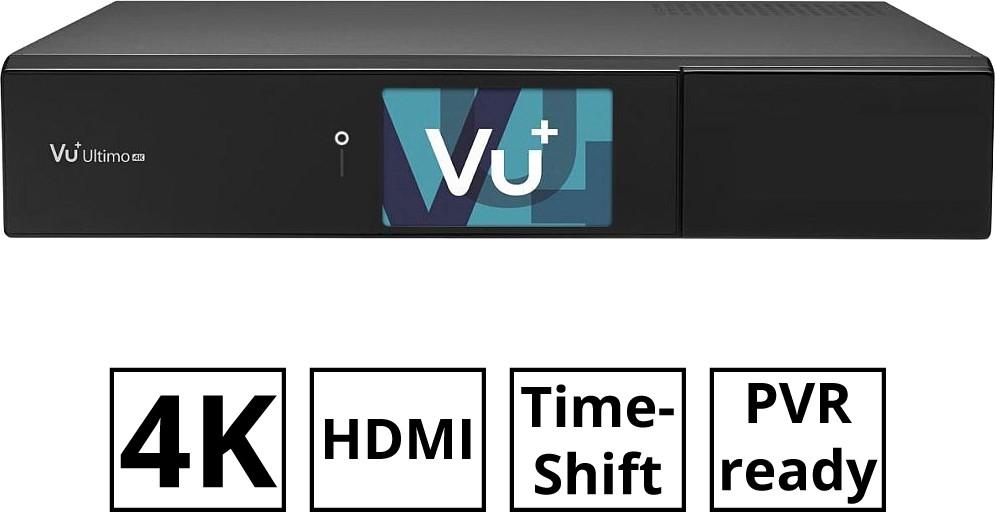 Linux-Receiver VU+ Ultimo 4K (DVB-S2, 1.500 MHz, 3GB RAM, 4GB eMMC, Bluetooth, HDMI 2.0, 2x USB 3.0, LAN, WLAN, PVR ready, Chromium OS)
