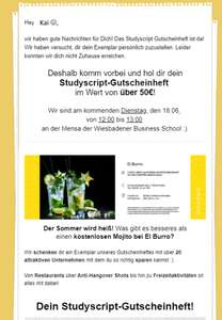 [LOKAL Wiesbaden, für Studenten] kostenloses Gutscheinheft, Wert: 50€