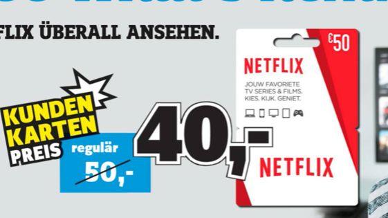 [Regional Conrad Stuttgart/Mannheim] Netflix  50,-€ Guthabenkarte für 40,-€ *Nur mit Kundenkarte*