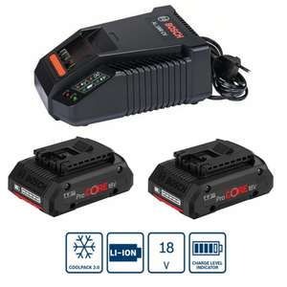 Bosch Professional Ladegerät AL1860CV + 2x Akku Procore18V 4Ah