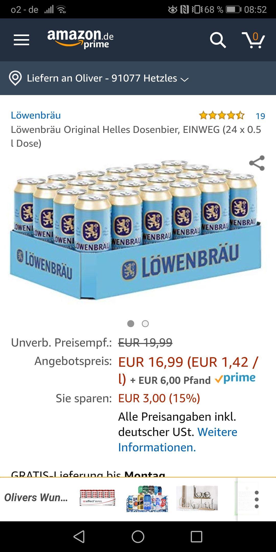 Dosenbier im Angebot bei Amazon: z. B. Löwenbräu Helles 24x0.5l für 16,99€ + Pfand. Viele weitere Sorten