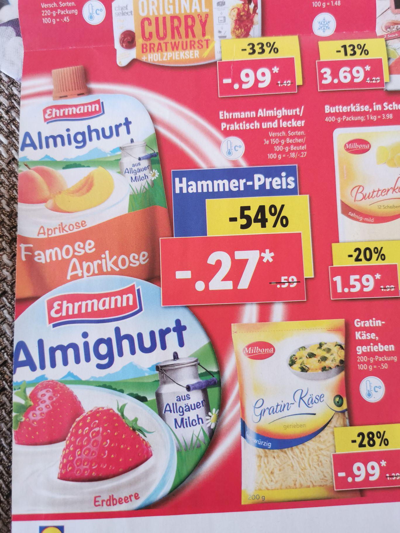 Ehrmann Almighurt/ Praktisch und lecker versch. Sorten. für 0.29 € ab 17.6 [LIDL]
