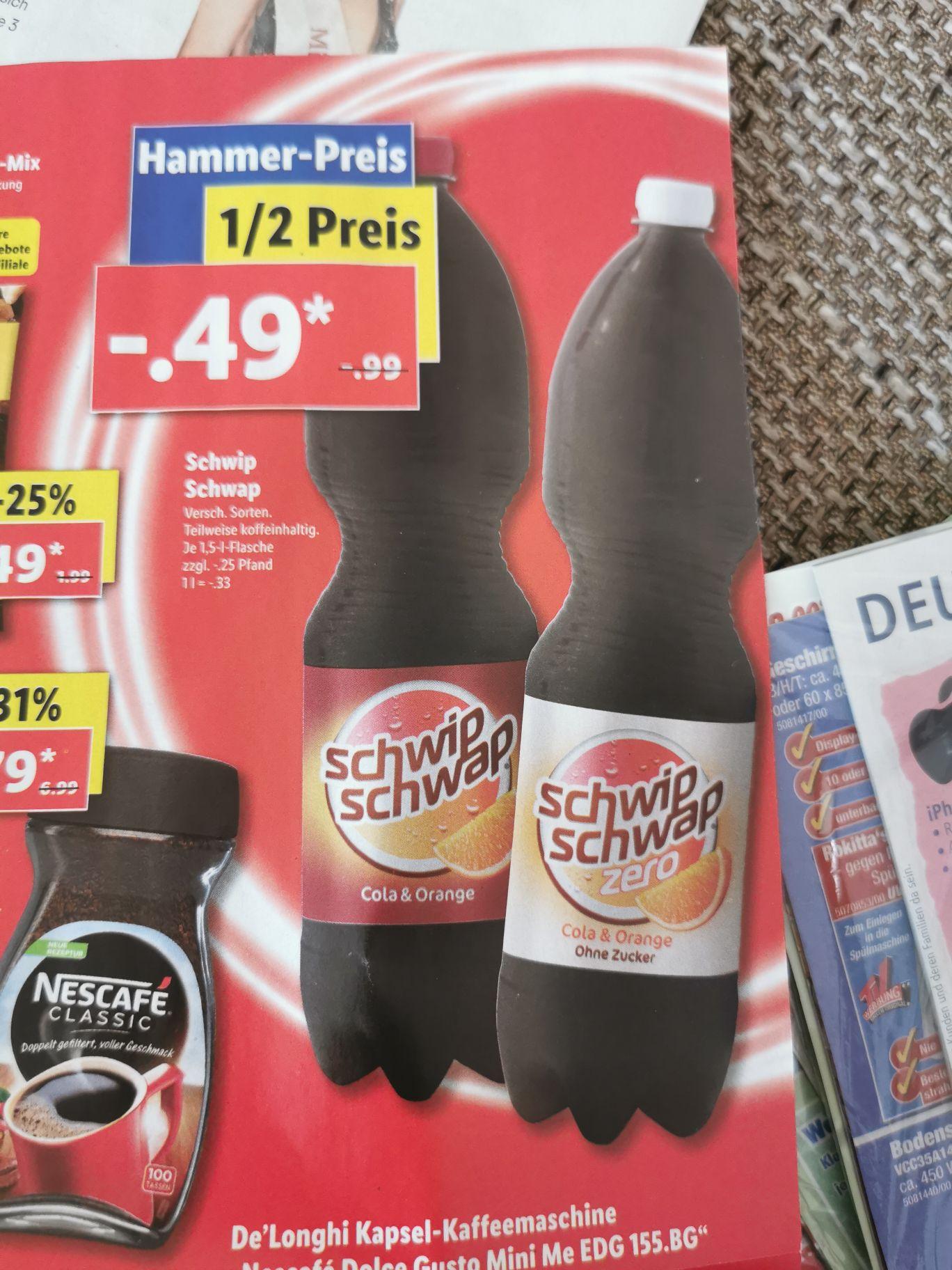Schwip Schwap (versch. Sorten) - je 1,5 l. Flasche für 0,49 € (zzgl. Pfand) ab 17.6 [LIDL]