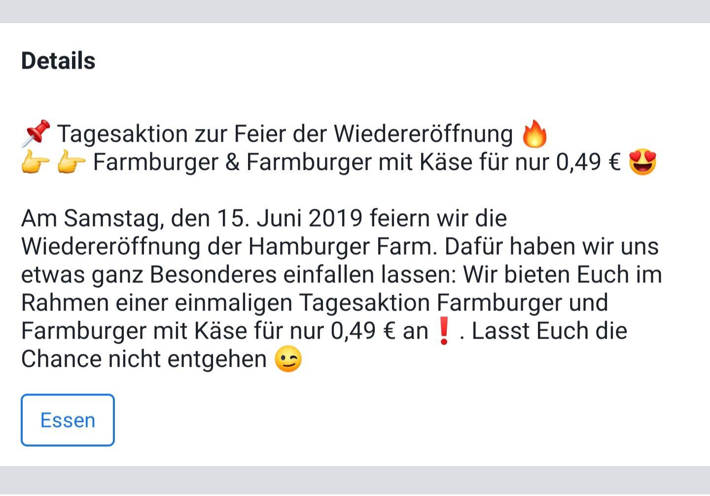 Farmburger 0.49€ bei Hamburger Farm Bremerhaven