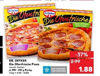 [Kaufland ab 21.06] Dr.Oetker-Die Ofenfrische Pizza in verschiednen Sorten. 390g bis 415g für je 1,88,-€
