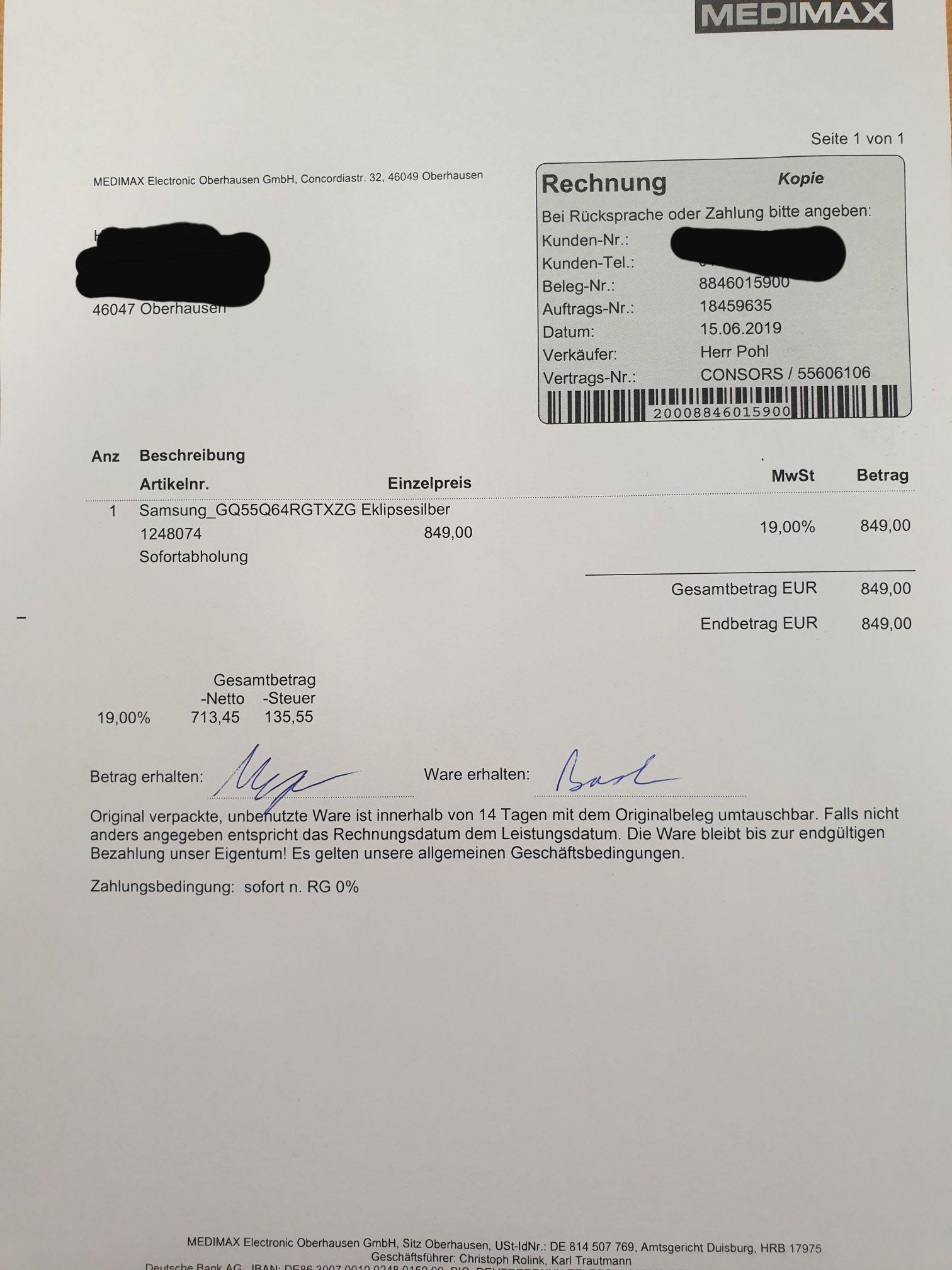 Samsung GQ55Q64 QLED Lokal Medimax Oberhausen