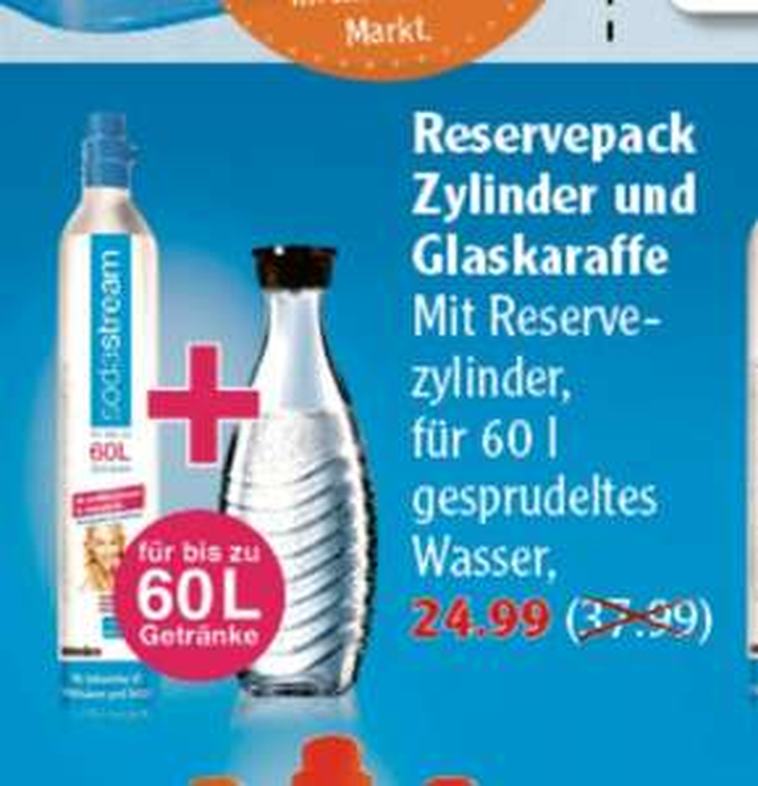 [Globus] SodaStream Reserve-Zylinder 60 Ltr. + Karaffe