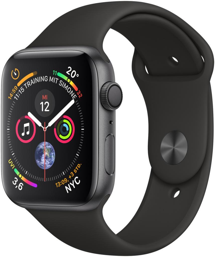 Apple Watch Series 4 GPS 44mm Aluminiumgehäuse Space Grau Sportarmband Schwarz für 398,92€ inkl. Versandkosten [Cyberport]