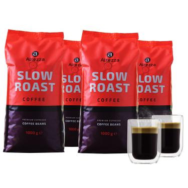 [Kaffeevorteil] 4kg Altezza Slow Roast Kaffeebohnen + 2 doppelwandige Kaffeegläser für 29,99€ (inkl. Versand)