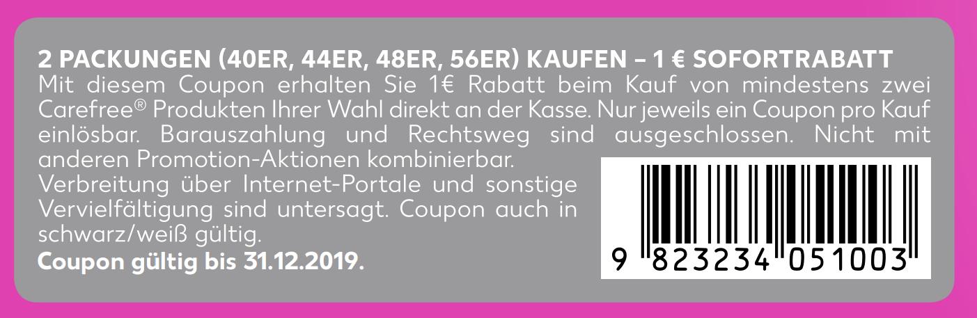 1,00€ Sofort-Rabatt Coupon für 2 Packungen Carefree Slipeinlagen bis 31.12.2019 zum Ausdrucken
