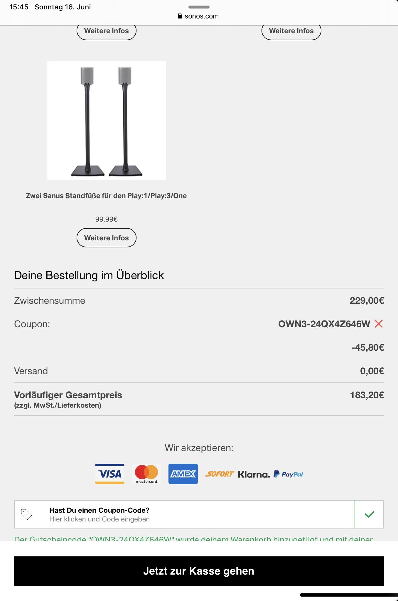 Sonos sitewide 20% und gratis Versand