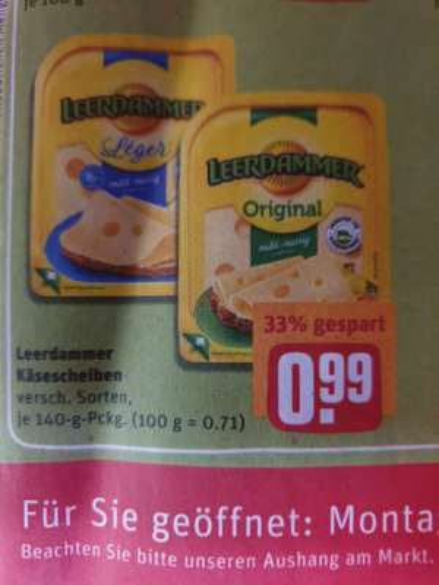 (Rewe) 5 versch. Sorten Leerdammer Käsescheiben 140gr. für 0,99€ auch Käsetrio,Dr.Oetker Baquette 1,11€,10x0,33l Coca-Cola 3,79€ + Magnum