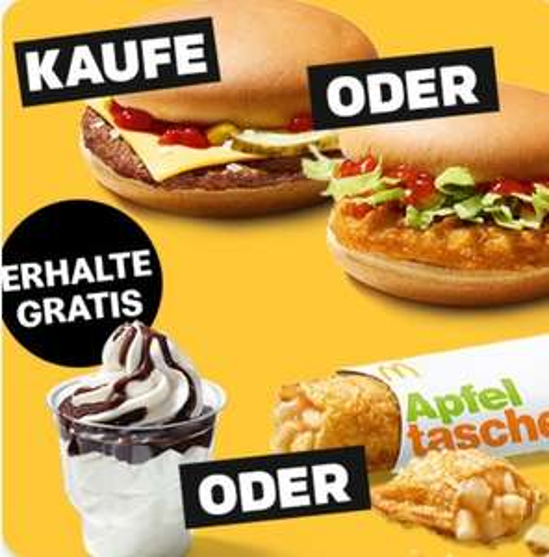 Cheese- oder Chickenburger kaufen & 1x gratis Apfeltasche oder McSundae  [McDonalds App]