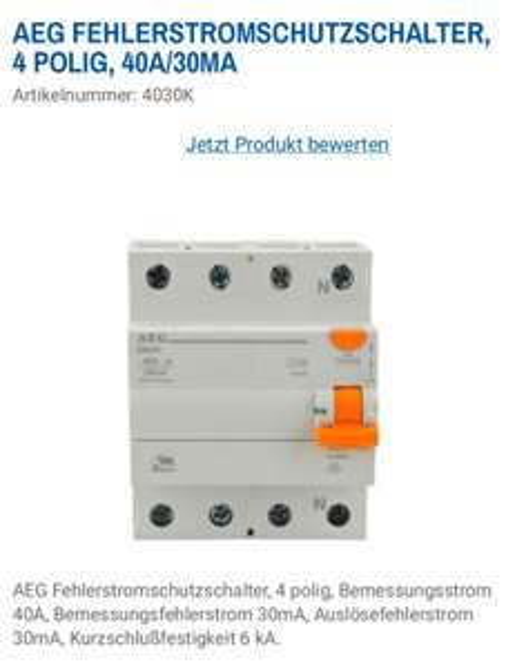 (Screwfix) AEG 40271 Fehlerstromschutzschalter 4-polig (FI)