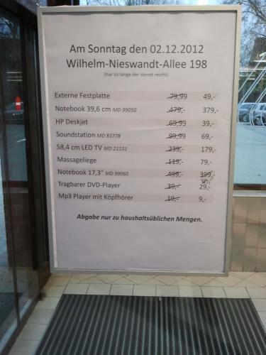 (lokal Essen)Aldi Nord Restposten Aktionsartikel (z.B. Medion Notebook MD 99060)