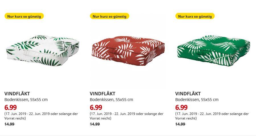 (IKEA Dresden) VINDFLÄKT Bodenkissen quadratisch verschiedene Farben 55x55 cm
