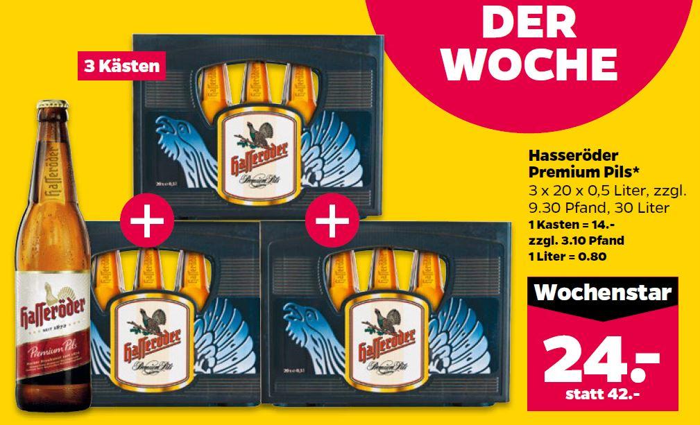 [NETTO schwarzer Hund auf gelben Grund] Hasseröder Premium Pils Bier 3 Kästen für 24€ Local