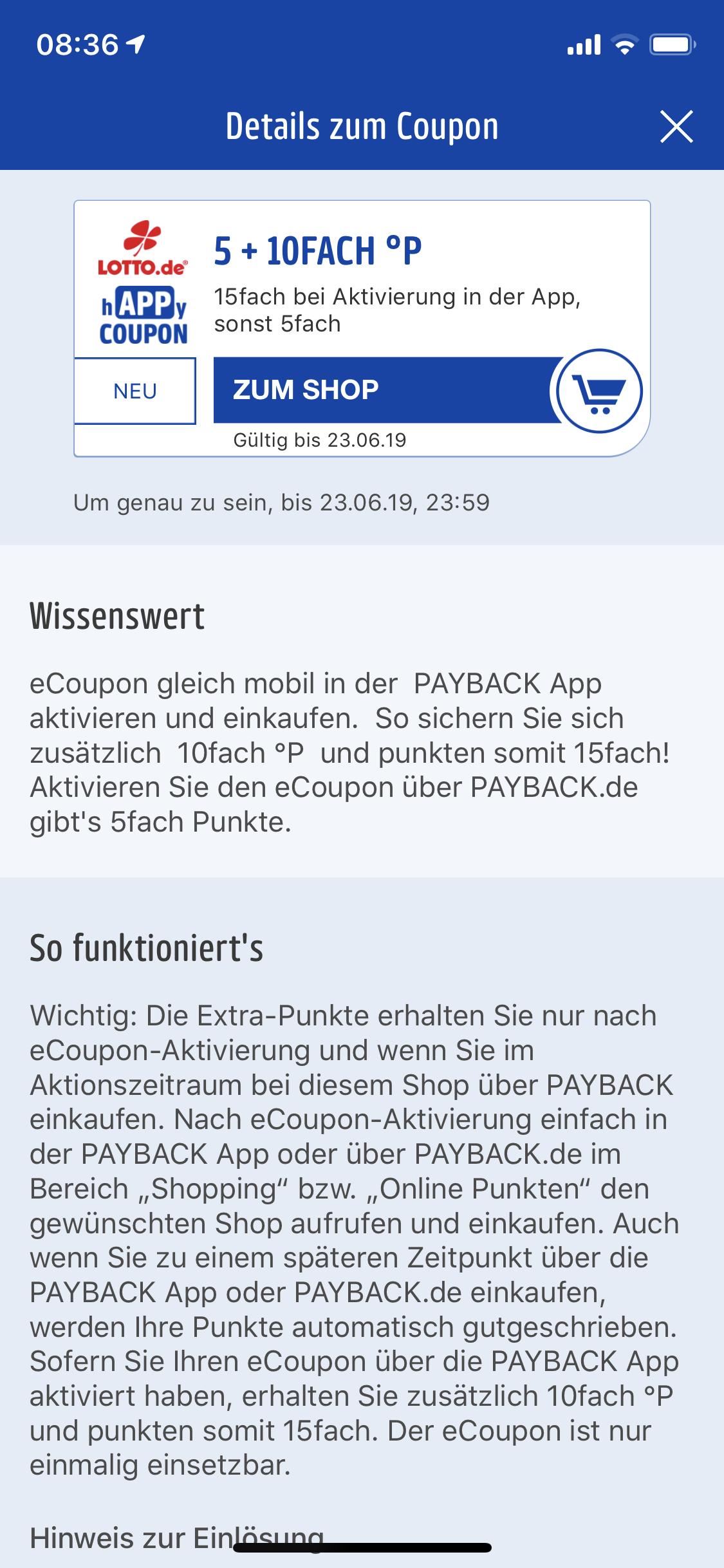 [Payback] 7,5% Rabatt auf Lotto.de über Payback App E-Coupon