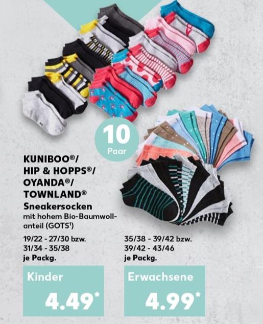 10 Paar Sneaker Socken mit hohem Bio-Baumwollanteil bei Kaufland