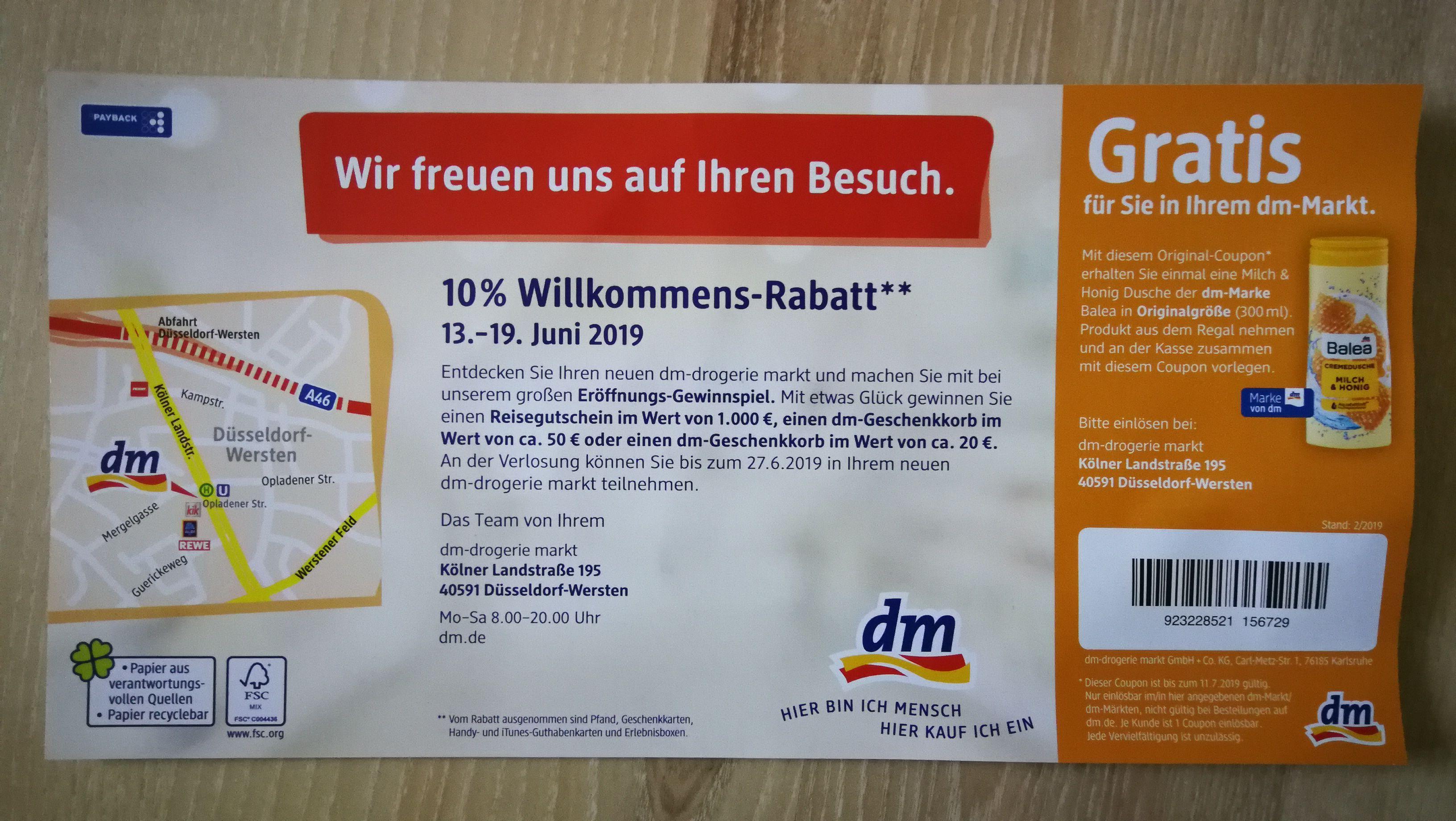 dm 10% auf alles* [lokal Düsseldorf Wersten] Filiale Neueröffnung