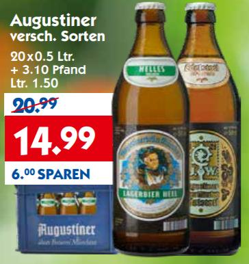 Kiste Augustiner Bier (versch. Sorten) für 14,99 bei Hol'Ab! (Norddeutschland)
