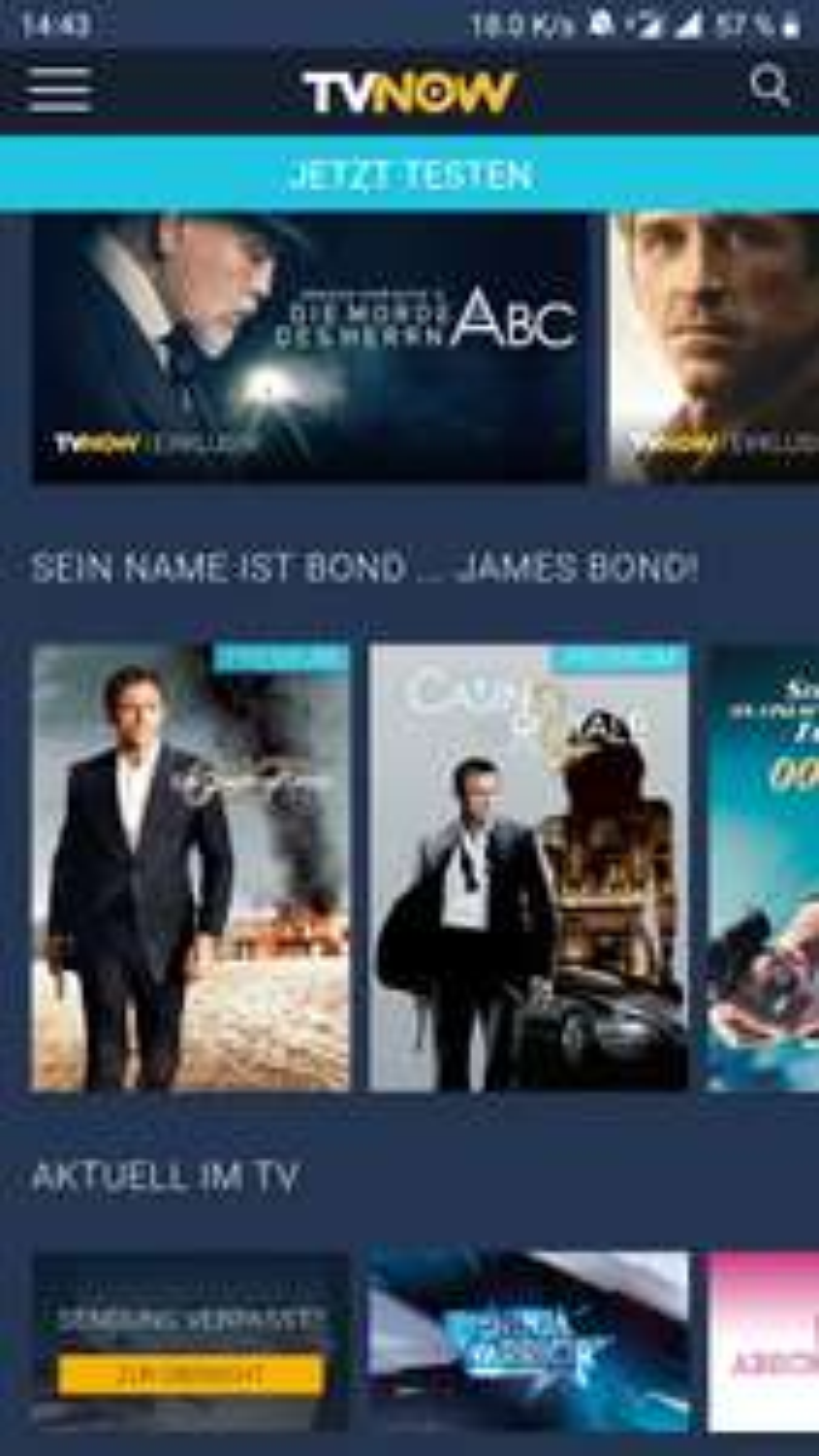 Fast alle James Bond Spielfilme auf Tvnow ansehen - kostenlos im 30 Tage Probezugang (für Neukunden)