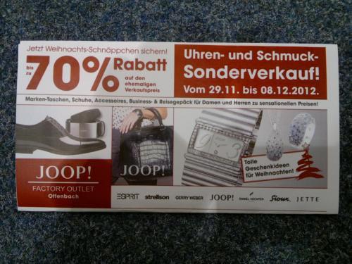 Uhren- und Schmuck-Sonderverkauf  mit bis zu 70% Rabatt im JOOP! Factory Outlet in Offenbach