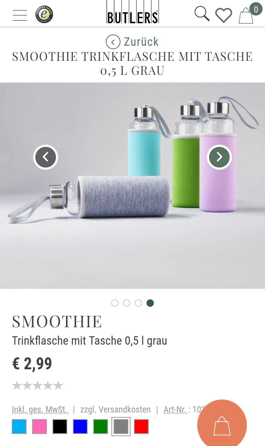 Butlers Filialabholung Smoothie Flasche Trinkflasche mit Tasche 0,5 l