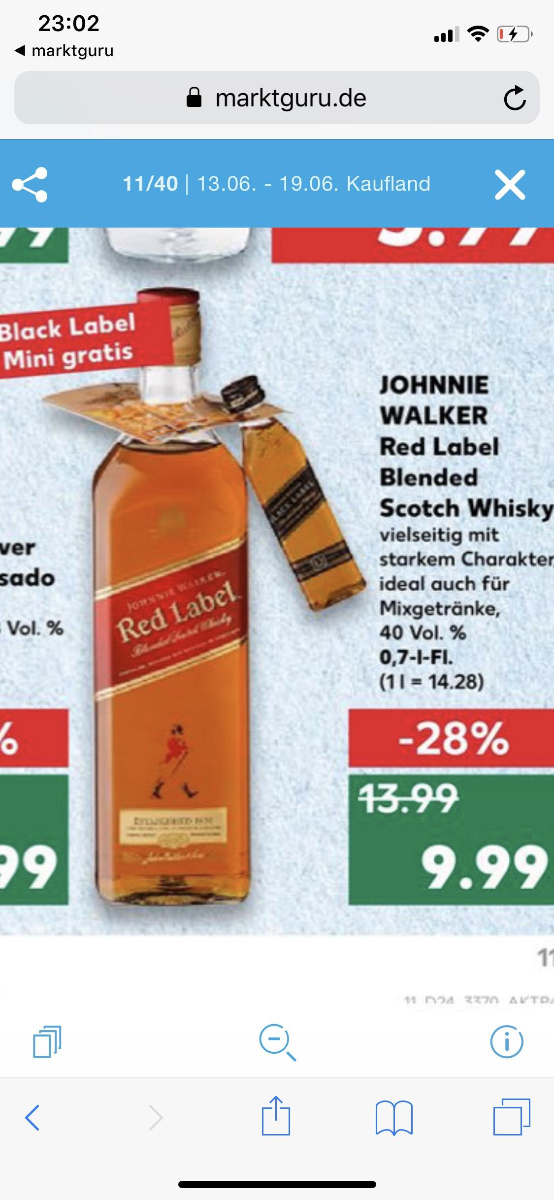 Red Label Johnnie Walker Whisky mit MINI Black Label