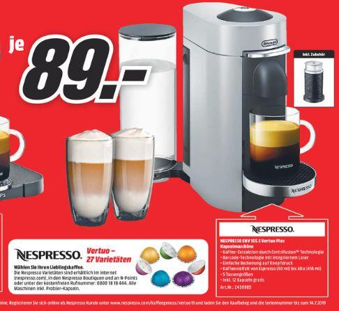 [Regional Mediamarkt Aschaffenburg] KRUPS XN9031 Nespresso Vertuo Plus Kapselmaschine + Nespresso Aeroccino 3 für 89,-€