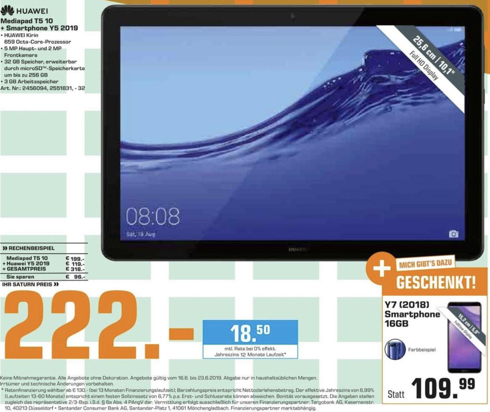 Lokal Saturn Berlin: Huawei Medipad T5 10 32GB + Smartphone Y5 2019 16GB für zusammen 222€