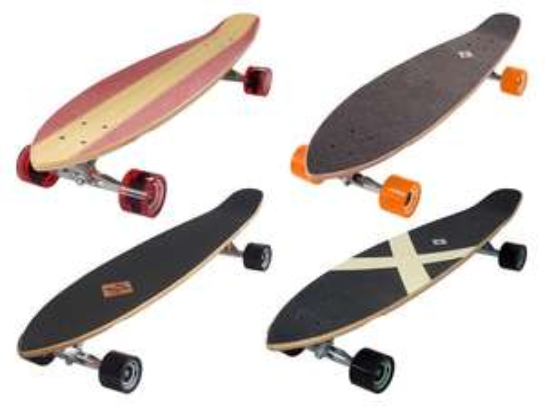 Streetsurfing Longboard Kicktail (vier verschiedene Varianten, Ahorn, ABEC 7-Kugellager, bis 100kg, 91.5 x 21.5 cm)