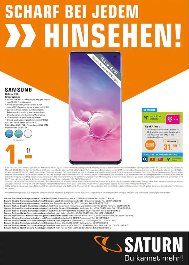 [Lokal Saturn] Samsung Galaxy S10 im mobilcom debitel Real Allnet Tarif mit 11GB und Telefon- und SMS-Flat für mtl. 31,99€