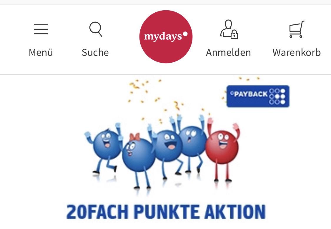 [Payback] 20Fach Punkte bei Mydays.de entspricht 10% Rabatt