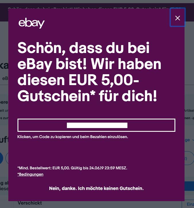 5€ eBay Gutschein, mit 5€MbW!